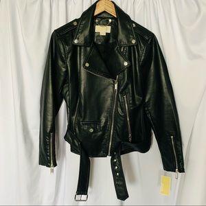 Michael Kors Black Faux Women's Leather Moto Jkt